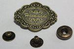 Antik Bronsskylt med knapp