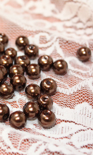 Pärlor Bronsbruna, glas 8mm